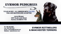 Evrmor Rottweilers and Manchester Terriers - Aurora, Colorado